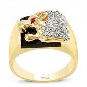 Myra Gold Aslan Figürlü Altın Erkek Yüzüğü