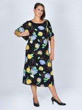 Nidya Moda Büyük Beden Çiçekli Vual Elbise 4026ç
