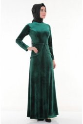 Nidya Moda Tesettür Kadife Peplumlu Yeşil Abiye Elbise 4044y