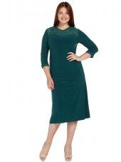 Nidya Moda Büyük Beden Roba Manşet Dantelli Yeşil Abiye Elbise 4078dy