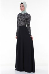 Nidya Moda Tesettür Üst Dantelli Uzun Lacivert Abiye Elbise 4045l