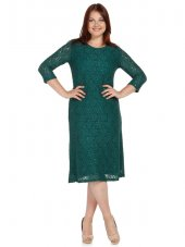 Nidya Moda Büyük Beden Papatya Dantel Yeşil Abiye Elbise 4080y