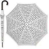 Notalı Baston Şemsiye Beyaz