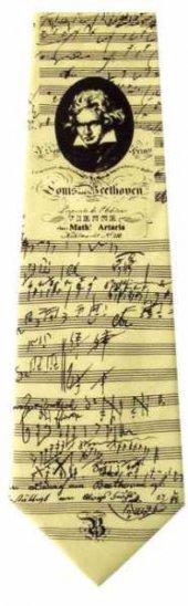 Beethoven Portre Ve Notalı İpek Kravat