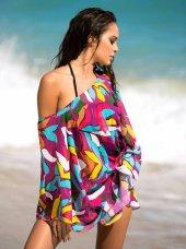 12075 Uzun Kollu Tül Plaj Elbisesi