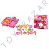 Barbie Kız Oyuncak Bulaşık Takımı Evcilik Oyunu Mutfak Eşyası Set