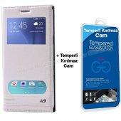 Samsung Galaxy A9 Çift Pencereli Kılıf Beyaz + Temperli Kırılmaz Cam