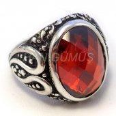 925 Ayar Gümüş Erkek Yüzük Yakut Kırmızı Oval