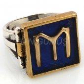 925 Ayar Gümüş Erkek Yüzük Kayı Boyu Mavi Renk