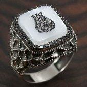 925 Ayar Gümüş Erkek Yüzük Arapça Edep Yahu Petek Model