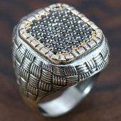 925 Gümüş Erkek Yüzük Hasır Model Siyah Taşlı
