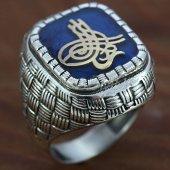 925 Ayar Gümüş Erkek Yüzük Osmanlı Tuğrası Mavi Mineli