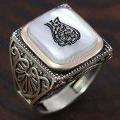 925 Ayar Gümüş Erkek Yüzük Lale Motifli Arapça Yaz...