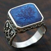 925 Ayar Gümüş Erkek Yüzük Mavi Mineli Türk Elyapımı