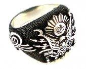 925 Erkek Gümüş Yüzük Osmanlı Tuğra Vav Ay Yıldız Armalı