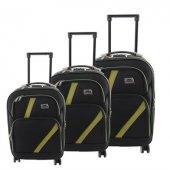 ççs 069 Trolley Kumaş Valiz Bavul Seti Siyah Yeşil