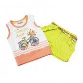 Kts 3780 Bisiklet Baskılı Tişört Gabardin Şort Kız Takımı