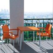 Siesta Mandol Bahçe Mutfak 4 Sandalyeli 72x72cm Kare Masa Takımı