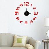Tüyball Duvar Saati 10es026 Kırmızı Sticker Duvar Saati
