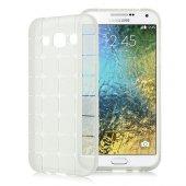 Galaxy E5 Plaid Tpu Arka Kapak Şeffaf