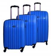 Tutqn Safari Kırılmaz Valiz 3 Lü Set Mavi
