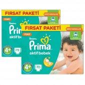 Prima Bebek Bezi Aktif Bebek 4+ Beden Maxi Plus Hiper Ekonomik 2li Paket 144 Adet