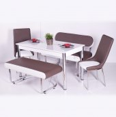 Mutfak Bank Takımı Yemek Masası Seti 2 Sandalye + 2 Bank + 1 Masa