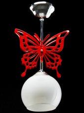 Sinem Avize 3025 1red Kırmızı Kelebek Tekli Çoçuk Odası Avizesi