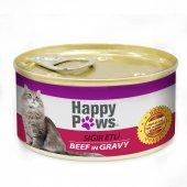 Happy Paws Sığır Etli Ve Soslu Yetişkin Kedi Konservesi 80 Gr