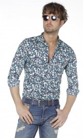 Plus Barkod Çiçek Desenli Slim Fit Erkek Gömlek