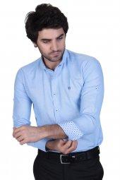 Brango 12547 3 Dar Kesim Şamre Kumaş Yaka Düğme Metal Mavi Gömlek