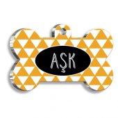 Pet Tag Art Sarı Üçgenli Kemik Şekilli Köpek Künyesi