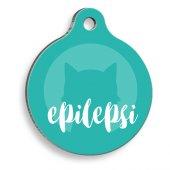 Tıbbi & Engelliler Serisi Epilepsi Kedi Mavi Yuvarlak Kedi Künyesi
