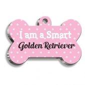 Golden Retriever Pembe Kemik Şekilli Köpek Künyesi