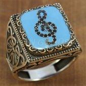 Gümüş Erkek Yüzük Köşeli Model Sol Anahtarı Açık Mavi Mineli