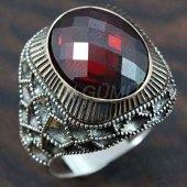 Gümüş Erkek Yüzük Petek Granat Kırmızı