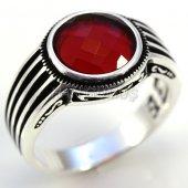 Gümüş Erkek Yüzük Yuvarlak Kırmızı