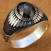 Gümüş Erkek Yüzük Siyah Zirkon Oval Kanatlı