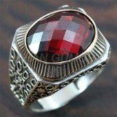 Gümüş Erkek Yüzük Yan Köşe Granat Kırmızı