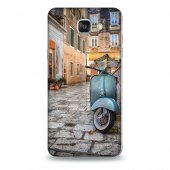 Samsung A9 Kılıf Sokaktaki Vespa Desenli Kılıf
