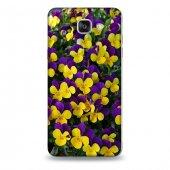 Samsung A9 Kılıf Sarı Mor Çiçek Bahçesi Desenli Kılıf