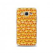 Samsung Core Prime Kılıf Kalpli Smiley Desenli Kılıf