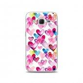 Samsung Core Prime Kılıf Renk Renk Kalpler Desenli Kılıf