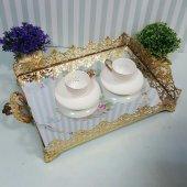 Aynalı Tepsi Kare Saray Model (Altın Renk)
