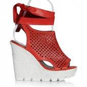 Uk Polo Club P64711 Kadın Topuklu Sandalet Kırmızı