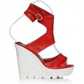 Uk Polo Club P64709 Kadın Topuklu Sandalet Kırmızı