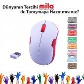 Mıla Ml370 Mila Kablosuz Usb Nano Alıcılı Optik Mouse Beyaz Kırmızı Şerit.