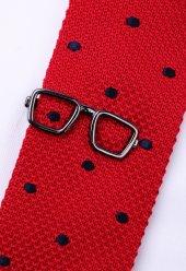 Gözlük Koyu Gümüş Kravat İğnesi Kıy28