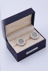 Gri Gümüş Renk Kol Düğmesi Kd138