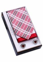 Babalar Günü Seti Kırmızı Beyaz Kravat Mendil Kol Düğmesi Os103